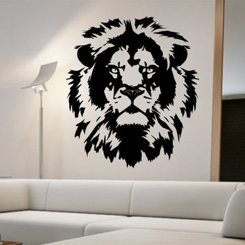Lion Vinyl Wall Decal Lion Face abstract design Sticker Art Decor Bedroom Design Mural home decor animals