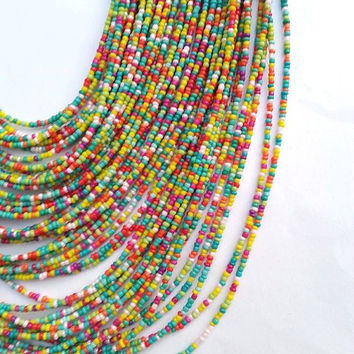 Seed Bead Necklace, Multicolor Necklace, Made with 48 Strands, Layering Necklace, Statement Necklace, Chunky Necklace, Ready to Ship