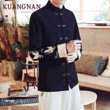 KUANGNAN Chinese Crane Embroidery Bomber Jacket Coat Men Jaqueta Masculina Casual Jackets Mens Casaco Masculino Veste Homme