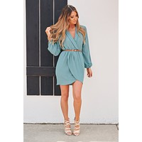 With Confidence Collared Dress (Seafoam)