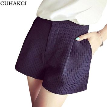 CUHAKCI Plaid Shorts Summer Candy Simple Collocation High Waist  Women Shorts Loose Fashion Design Plus Size Mixed Polyester