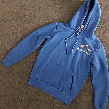 Calvin Klein : Champion Fashion Casual Flower Rose Embroidered Sweater Hoodie Pullover Blue G