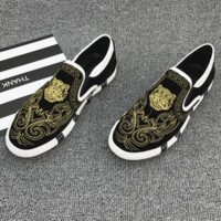 Kenzo 2018 trendy tiger head embroidery tide casual shoes gold tig