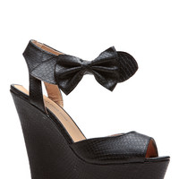 Black Bow Reptile Textured Wedges