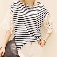 Blue and White Stripe Shirt with Lace Bell Sleeves