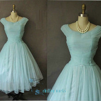 Sleeveless V-neck ruffled light blue belt and whiteTulle evening dress cocktail/prom/pageant dress for wedding party