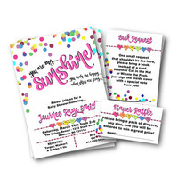 Baby Shower invitation rainbow hearts dots confetti You are my sunshine themed baby shower invite printed or printable colorful pink cute