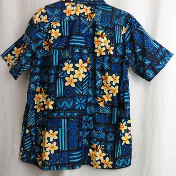 Hawaiian Shirt 60s Vintage Surf Shirt Button Down Made in Hawaii Blue Tropical Floral Print Cotton