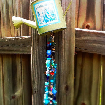 Watering can beaded wind chime garden art outdoor decorations