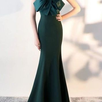 Green Draped Bow Off Shoulder Backless For Wedding Gowns Banquet Elegant Maxi Dress