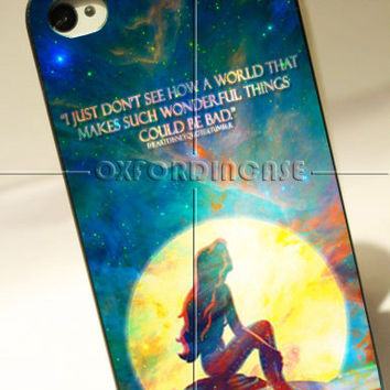 The Little Mermaid Ariel Quotes in the moon light - for iPhone 4/4S case iPhone 5 case Samsung Galaxy S2/S3/S4 case hard case