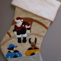 "Sci Fi Christmas Stocking, Spaceship Stocking,Geek Christmas Stocking ""Santa's Trek"""