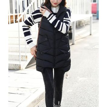Womens Mid Length Zipped Up Puffer Vest with Hood in Black