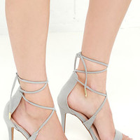 LULUS Romy Grey Lace-Up Heels