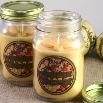 Autumn Harvest Soy Candle (Smells like Pumpkin Spice, Cinnamon, and Fall) Orange, No Phthalates, Vegan, Eco Friendly, Handmade, Gift Idea