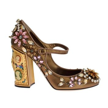 Dolce & Gabbana Gold Leather Crystal Heel Mary Janes Pumps
