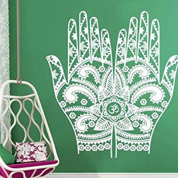 Wall Decal Henna Mehndi Hands Vinyl Sticker Decals Art Home Decor Design Arabic Bahraini Henna Indian Pattern Boho Dorm Bedroom NV205 (22x24)