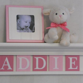 """Painted Letters for Baby Room Pink Letters for ADDIE on 24"""" Linen (Off White) Shelf and 5 Wooden Wall Letters"""