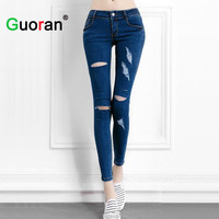 Hot ! women hole ripped jeans plus size blue femme tight denim jeans pencil pants high stretch ladies fashion skinny trousers