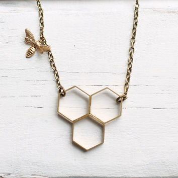 Bee Hive Necklace ... Honey Bee Honeycomb Hexagon Geometric Brass
