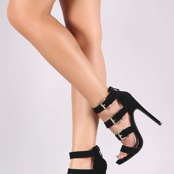 Strappy Buckled Nubuck Open Toe Stiletto Heel