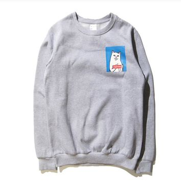 Hip - hop street tide brand middle finger cheap cat Supreme cotton fleece round neck sets of head sweaters men Gray