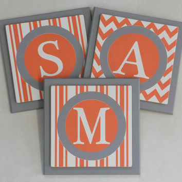 Orange and Gray Personalized Baby Nursery Letters Wall Decor - Stripe and Chevron Painted Custom Design Wood Wall Letter Name Sign SAM