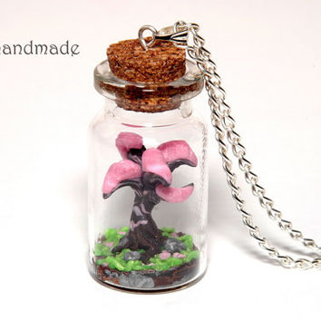 Sakura tree in a glass jar necklace