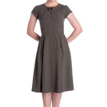 Vintage Pinup 60's Lovely Office Lady Gray Plaid Lady Hey Dress