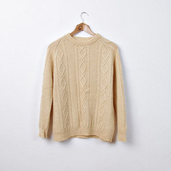 80s Fisherman's Women Cable Knit Sweater/ Deeply Cream/ Summer Nights Pullover/ Size S / M