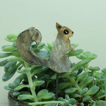 Squirrel Miniature plant stake Pot decoration