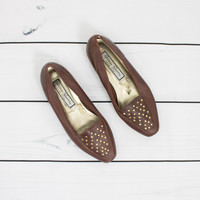 Vintage (Size 7) Studded Brown Loafer Shoes
