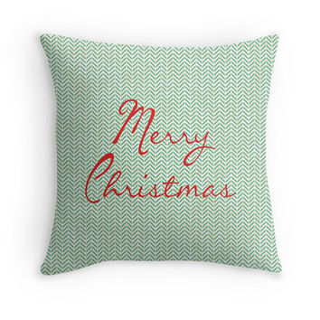 Modern Merry Christmas Decorative Pillow Cover with Herringbone Pattern, Typography, 16x16, 18x18, 20x20, Couch Pillow, Holiday Decor