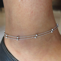 "10"" silver delicate beaded double chain, adjustable Ankle leg Bracelet Anklet, silver anklet, beaded chain anklet, foot jewelry"