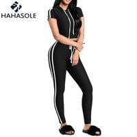 HAHASOLE Workout Clothes For Women's Tracksuits Red White Striped Gym Wear Top Leggings Set Sport Suit Female HWX0028-48