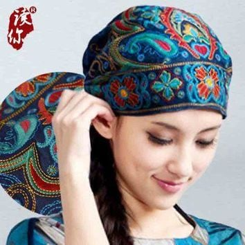 Mexican Style Spring And Autumn Ethnic Vintage Embroidery Flowers Bandanas Original Red bBue Print Hat Cat Free Shipping
