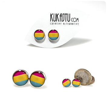 Pansexual Pride Stud Earrings Pansexual Jewelry Pride Earrings Pride Jewelry Pride Flag Pink Yellow Blue Earrings