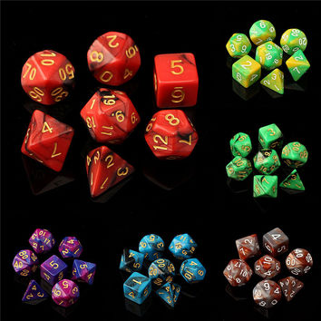 7pc/Set TRPG Dice For Dungeons Dragons D4-D20 Multi Sided Games Dices 6color Desktop Polyhedral Set Acrylic Plastic Toy Kit