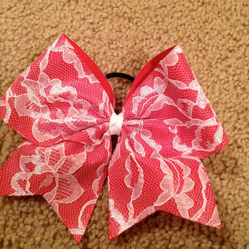 Red with White Lace Cheer Bow