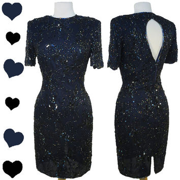 Dress Vintage 80s Dark Navy BLUE BEADED Sequin Cocktail Party Dress XS S Sheath Floral