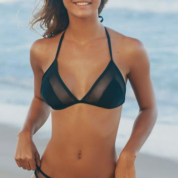 Mesh Triangle Swim Top Black
