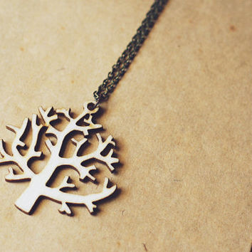 wooden tree necklace