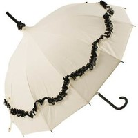 Ivory Pagoda Umbrella with Black Lace Trim by Lisbeth Dahl - Brolliesgalore