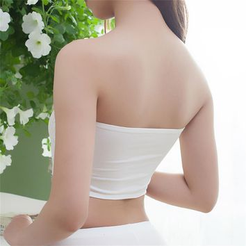 High Quality Lingerie Lady Sexy Floral Lace Bra Strapless Tube Tops White Short Tanks Hipster