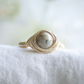 Wire Wrapped Jasper Ring - Jasper Ring - Rock Ring - Wire Wrapped Stone Ring - Gold Ring - Gold Wire Wrapped Ring - Boho Ring - Boho Jewelry