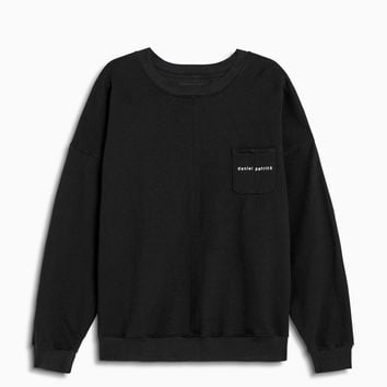 pocket crew sweat / black + natural
