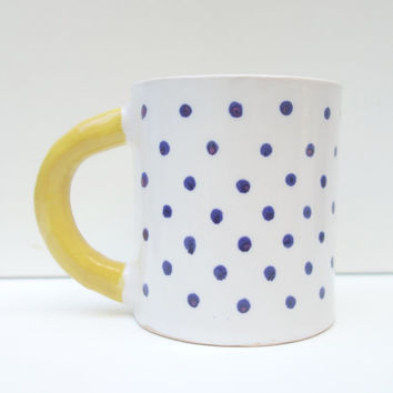 White Mug with Blue Spots and Yellow Handle - Modern Cup with Blue Polkadots | stoneware | ceramics | pottery | coffee tea