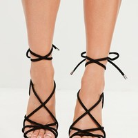 Missguided - Black Rounded Strap Gladiator Heeled Sandals