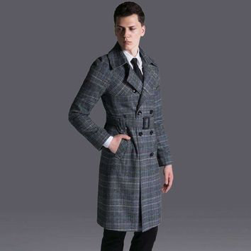 Mens Double-Breasted Jacket Pants Long Trench Coat