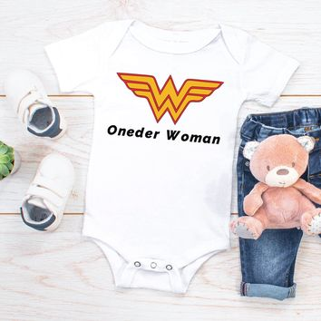 """Oneder Woman"", First Birthday Gift Baby Girl Bodysuit Onesuit"